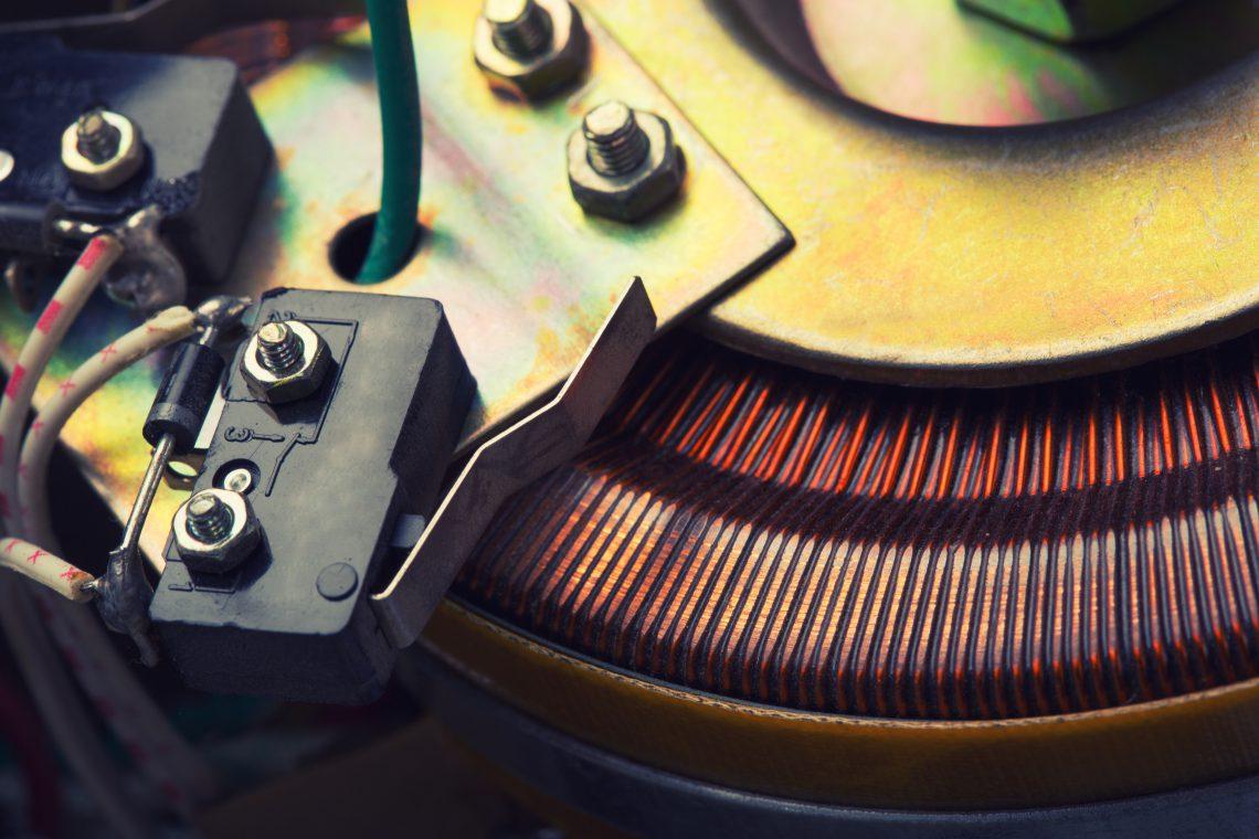 Closeup of copper inductor in electrical transformer