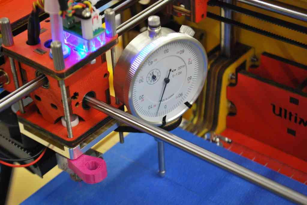 Dial indicator used for print bed alignment on Ultimaker. Photo credit: Riley P.